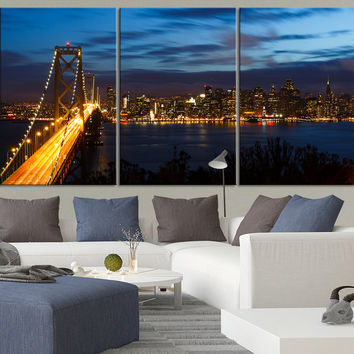 Extra LARGE Wall Art CANVAS Print San Francisco Bay Bridge and Skyline at Night with City Lights - Canvas San Francisco Cityscape Art