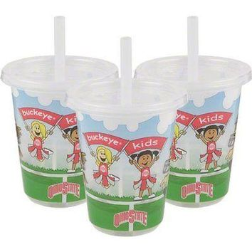 Ohio State Buckeyes NCAA 10 oz Sip n Go Plastic Cups (Set of 3) BPA Free