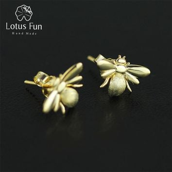 Lotus Fun Real 925 Sterling Silver Natural Creative Handmade Designer Fine Jewelry Cute Honeybee Stud Earrings for Women Brincos