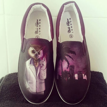 Hotline Miami/ Rasmus/ Owl Hand painted slip on shoes