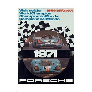 1971 sports car poster WELTMEISTER WORLD CHAMPION prized hot 24X36
