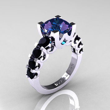 Modern Vintage 18K White Gold 2.5 Carat Alexandrite Black DIamond Designer Wedding Ring R142-18KWGBDAL