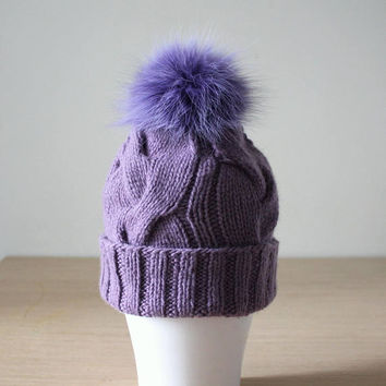 Cashmere fur pom pom hat,  Braided cable knit hat, Bobble hat, Dusty lilac, Purple cashmere hat, Beanie with fur pom