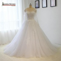 Princess Long Sleeve Lace Applique Pearls Wedding Dress