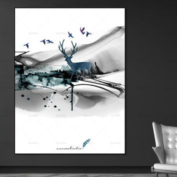canvas painting Wall art pictures Nordic Picture decor poster art print  deer Wall Picture decration for living room no frame