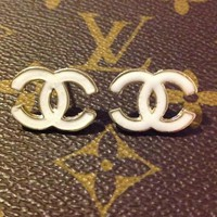 White chanel studs