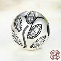 Real 925 Sterling Pure Silver Sparkling Leaves Clip Charm Bead Fit Original Pandora Bracelet Authentic S925 Fine Jewelry