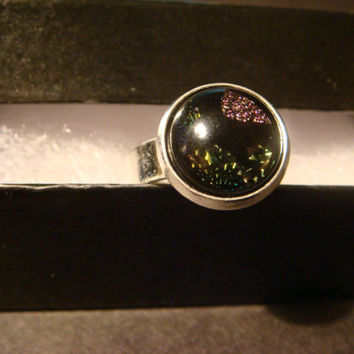 Silver Dichroic Glass Ring  - Adjustable (1021)