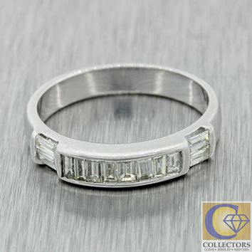1930s Antique Art Deco 14k White Gold .50ctw Diamond Wedding Band Ring