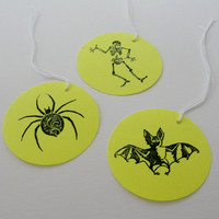 Halloween Bright Yellow Party Goody Bag Gift Tags, Hand Stamped Round Paper Cut Outs, Bat, Spider, Skeleton Tags, Set of 12