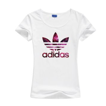 """Adidas"" Women Fashion Casual Clover Letter Galaxy Print Round Neck Short Sleeve Cotton T-shirt"