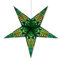 """Moroccan lantern, 2'.2"""" X 2'.2"""" Green stained glass hologram lantern, LIGHT INCLUDED, Moroccan star, moroccan light, Holiday Decoration"""