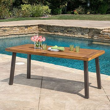 Acacia Wood 69 x 32 inch Outdoor Patio Dining Table in Teak Finish