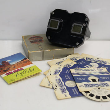 Vintage 1950s Mid-Century Sawyer's View-Master Full Color Stereoscopic Kodachrome Picture Reel Viewer in Original Box w/6 Picture Reels