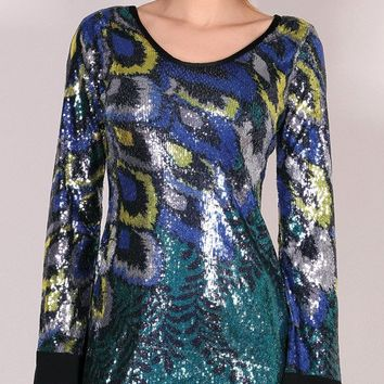 Teal Blue Feather Print Sequin Dress