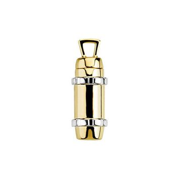 14k Yellow and White Gold, Two Tone Cylinder Ash Holder Pendant