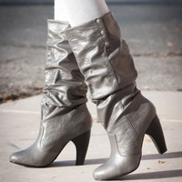 RESTOCKED Qupid Tabu-13 Slouchy Mid Calf High Heel Cuff Boot (Grey) - Shoes 4 U Las Vegas