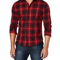 Red Square Plaid Button Down