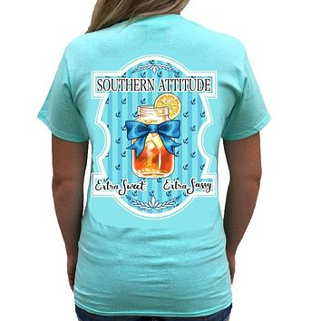 Country Life Outfitters Southern Attitude Extra Sweet Extra Sassy Tea Mason Jar Bow Bright T Shirt