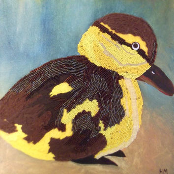 Billy the Duckling - painting of duck - Ugly duckling - mixed media painting on canvas by Hayley Mallett