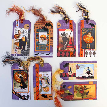 Halloween Tags with Vintage Image Assortment of Vintage Style Halloween Party Favor Tags Halloween Decor Treat Bag Tags Unique Gift Tags