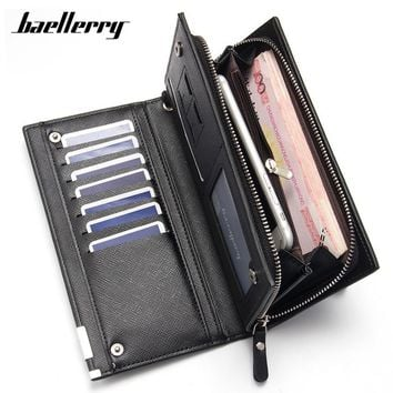 Baellerry Clutch Wallets For Men Big Capacity Long Wallet Wrist Band Card Holder Phone Pocket Purses Male Bolsa Macho Carteira
