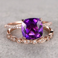 8X8mm Cushion Amethyst Wedding Set Diamond Bridal Ring 14k Rose Gold Unique Prong Marquise Matching Band