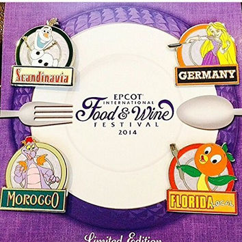 Authentic Disney Epcot Food and Wine Festival 2014 Pin Set LE1000 FROZEN Olaf Tangled Rapunzel Figment