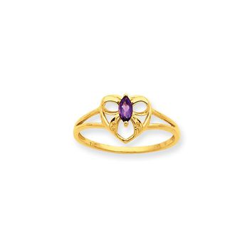 10k Yellow Gold Polished Amethyst Birthstone Ring