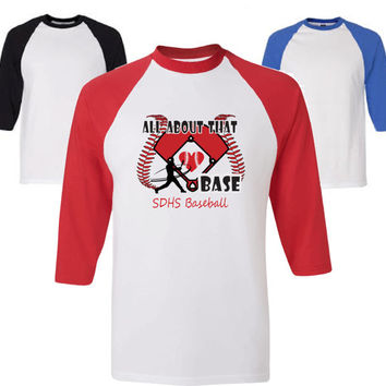 Baseball mom shirt.  Personalized Baseball mom shirt.  Baseball-style raglan shirt  in red, blue, or black by Pink Pig Printing.