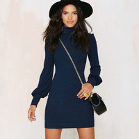 Long Sleeve Dress in Navy Blue or Black