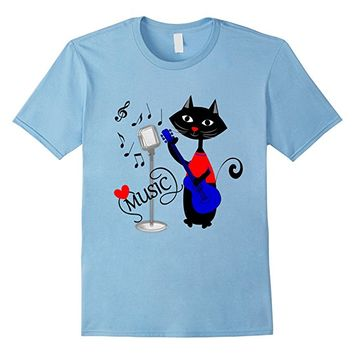 Cat Guitar Player Funny Love Music T-Shirt