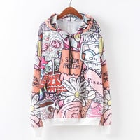 Autumn Women's Fashion Cartoons Alphabet Print Casual Pullover Hoodies [9067786116]