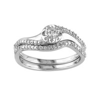Round-Cut Diamond Engagement Ring Set in Sterling Silver (1/7 ct. T.W.) (White)