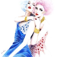 Colored pencil Drawing, Fashion Illustration - Best Friends Forever