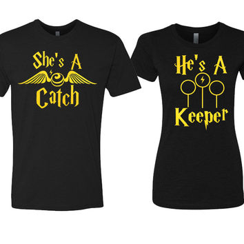 She's a Catch and He's a Keeper Couples Black Shirts
