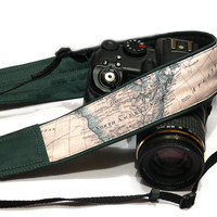 World Map Camera Strap, dSLR Camera Strap, SLR, Nikon, Canon, Mirrorless Camera Strap, Men, Women Accessories