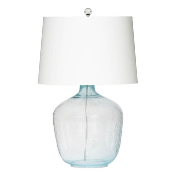 Breakwater Table Lamp, Aqua Seeded Glass, Table Lamps