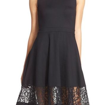 French Connection Lace Panel Fit & Flare Dress | Nordstrom