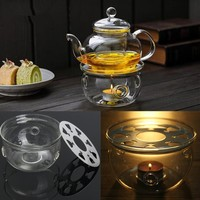 Round Heating Base Coffee Water Scented Teapot Trivet Candle Clear Glass Heat-Resisting Tea Warmer Insulation Base Candle Holder
