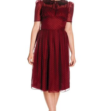 Hell Bunny 50s Vintage Cocktail Date Night Polka Dot Burgundy Chiffon Dress