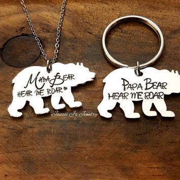 Mama Bear Necklace, Papa Bear Keychain, Handstamped Bear Necklace, Hear Me Roar Keychain or Necklace, Gift for Mom or Dad, Bear Necklace