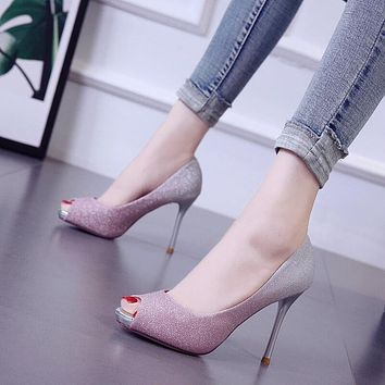 Leather High Heel Peep Toe Sandals