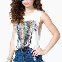 Colorful Tribal Elephant Muscle Tee