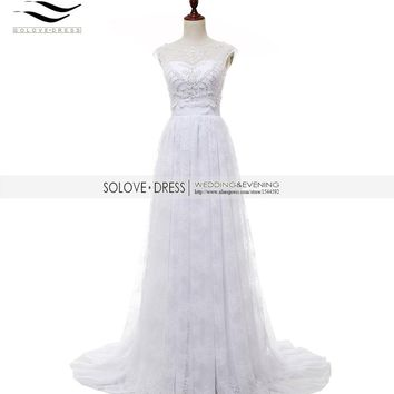 Solovedress A Line Lace Two Pieces Wedding Dress With Jacket Scoop Neck White Beaded 2 Pieces Bridal Gown vestido de noiva SL220