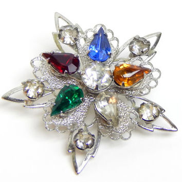 Silver Star Brooch Vintage Multi Colored Stones Silver Star Pin