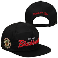 Mitchell & Ness Chicago Blackhawks Special Script Zipback Adjustable Hat - Black