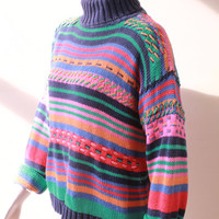 Vintage - 80s/90s - Blue Pink Teal Orange - Rainbow Striped - Woven Knit - Sweater - High Collar - Turtle Neck - Hipster