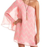 One Shoulder Chevron Print Shift Dress - Peach Combo
