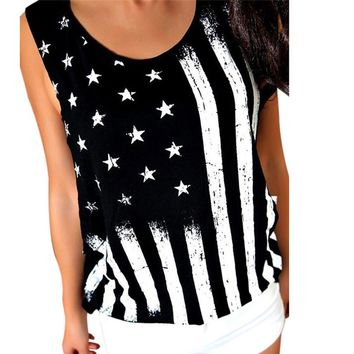 1PCS Women Tank Tops 2017 Summer Women Print American Flag Sleeveless Tank Crop Tops Vest Blouse T-Shirt Plus Size Black Jane 5